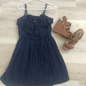 Blue Dress with ruffled top
